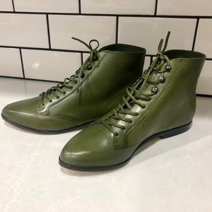 Vintage Forest Green Leather Lace Up Bootie